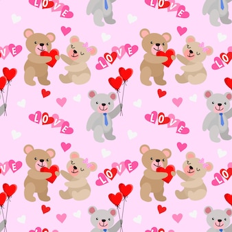 Cute bear and heart shape with balloon seamless pattern.