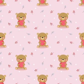 かわいいクマは、心のシームレスなパターンを保持します。