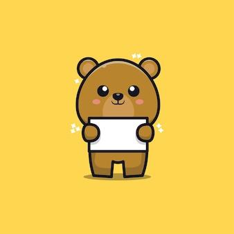 Милый медведь держит баннер иллюстрации шаржа