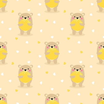Cute bear hold a big lemon seamless pattern.