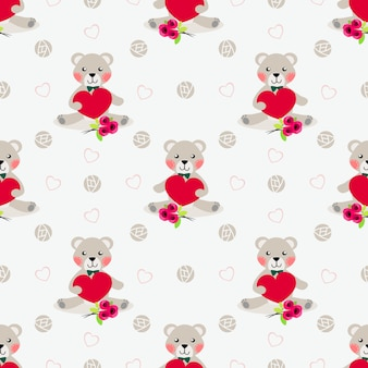 Cute bear hold red heart seamless pattern.