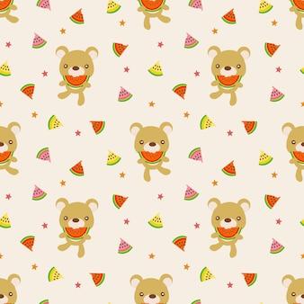 Cute bear hold watermelon seamless pattern.