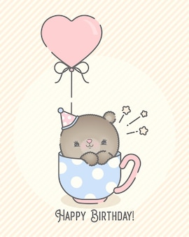 Cute bear holding balloon for baby shower