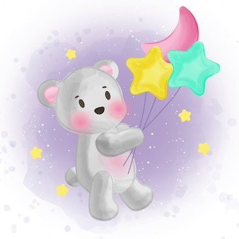 Cute bear holding balloon in watercolor style.