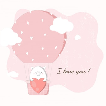 Cute bear holding big heart in hot air balloon floating in pink sky.