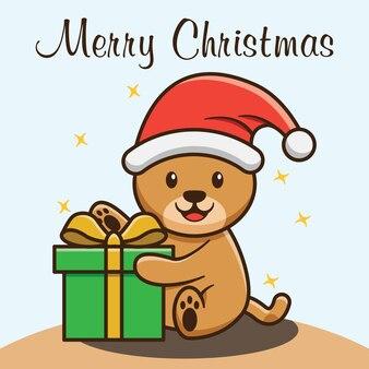 Милый медведь холдинг рождественский подарок векторный дизайн коробки