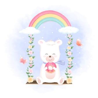 Милый медведь держит пончик на качелях и бабочек