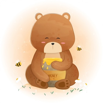 Cute bear holding honey jar and bees flying around