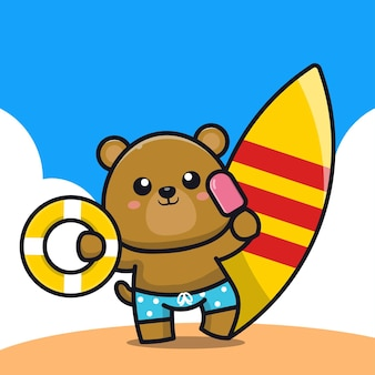 Cute bear holding ice cream swim ring and surfboard cartoon   illustration