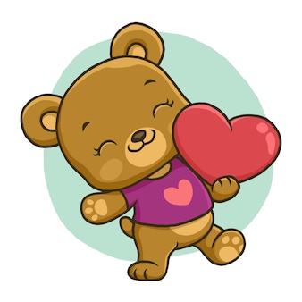 Cute bear holding love isolated on white background.