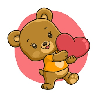 Cute bear holding love isolated on white background
