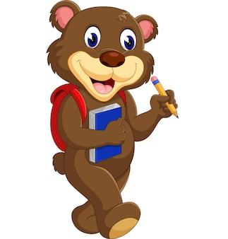 Милый медведь, держащий карандаш
