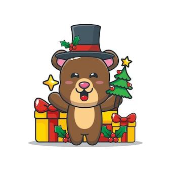 星とクリスマスツリーを保持しているかわいいクマかわいいクリスマス漫画イラスト