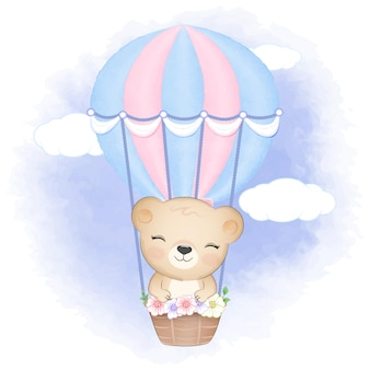 Cute bear on hot air balloon hand drawn cartoon animal illustration