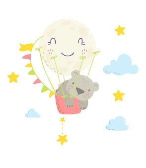 Cute bear in a hot air balloon.