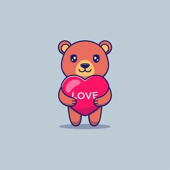 かわいいクマの抱擁愛風船