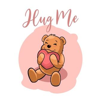 귀여운 곰 포옹 그림 사랑