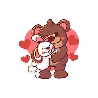 Милый медведь обнимает кролика персонаж. премиум каваи