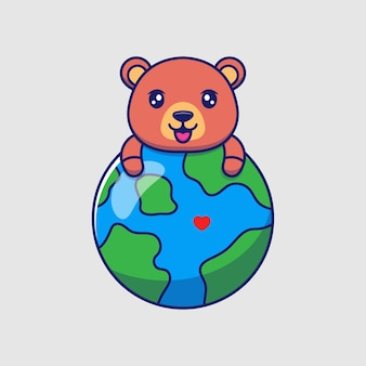 Милый медведь обнимает планету земля