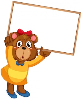 Cute bear in human-like pose isolated
