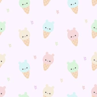 귀여운 곰 아이스크림 원활한 patterm