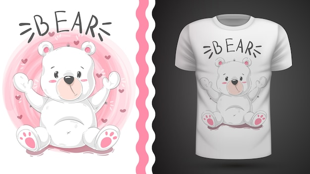 Cute bear idea for print t-shirt