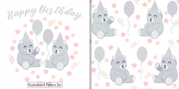 Cute bear illustration animal card with teddy seamless pattern set