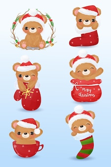 Cute bear illustration in set of 6 for christmas decoration.