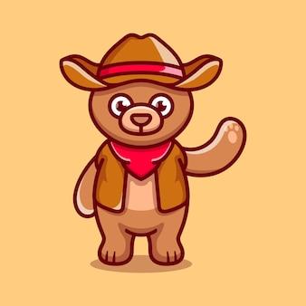 Cute bear illustration wearing cowboy clothes