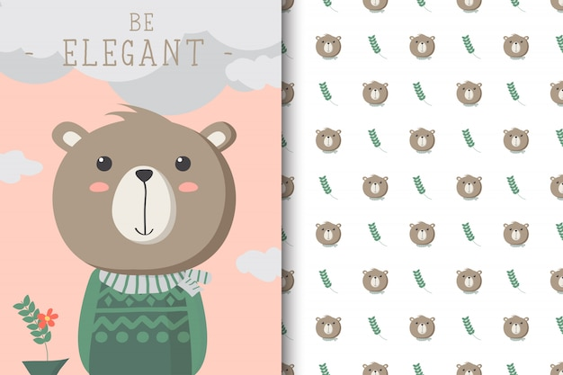 Cute bear illustration with seamless pattern in the white backdrop