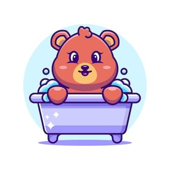욕조 만화 캐릭터에 귀여운 곰