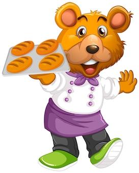 고립 된 인간 같은 포즈에 귀여운 곰