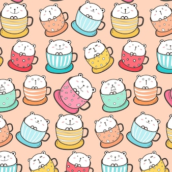 Cute Bear In The Cup Pattern Background.