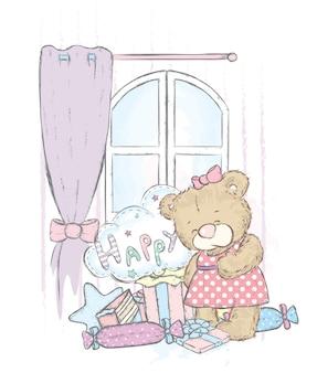 Милый мишка в комнате с подарками, большим окном и шторами. векторная иллюстрация.