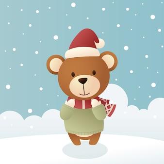 Милый медведь в зимней одежде и снегу. счастливого рождества иллюстрация