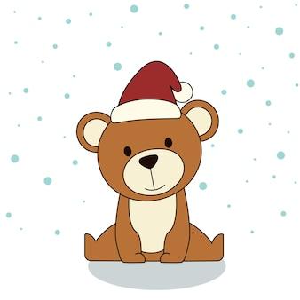 Милый медведь в зимнем головном уборе и снегу. рождественские иллюстрации