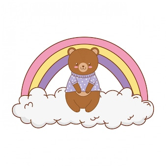 Cute bear inthe clouds with rainbow