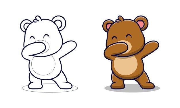 かわいいクマは子供のための漫画の着色ページを軽くたたく