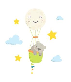Cute bear is flying in a hot air balloon