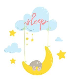 Cute bear is sleaping on the moon swings