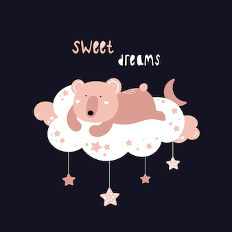 Cute bear is sleeping on a cloud.