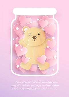 A cute bear in a jar and  for valentine's day card .