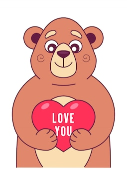 Cute bear keeps heart in its paws. character