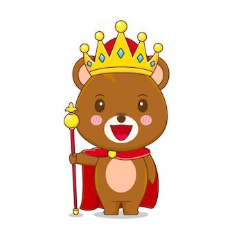 Милый медведь король персонаж изолированный
