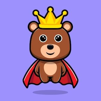 망토와 왕관 만화 캐릭터를 입고 귀여운 곰 왕
