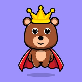 Cute bear king wearing cloak and crown cartoon character