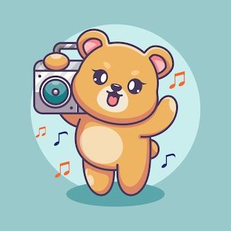 Милый медведь слушает музыку с мультяшным бумбоксом