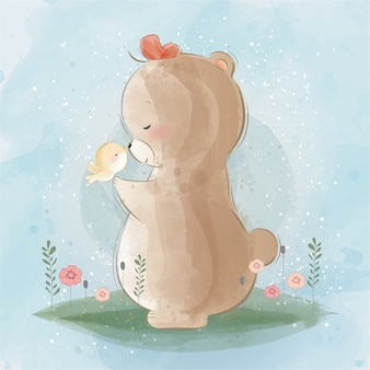 Cute bear and the little bird