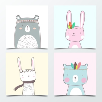 Cute bear and little bunny cartoon in pastel color