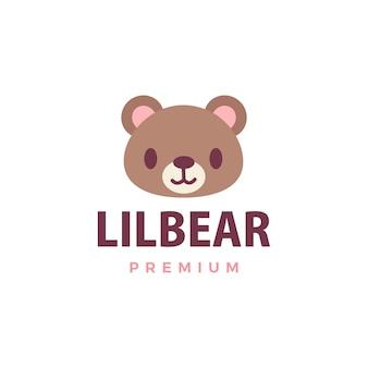 Милый медведь логотип значок иллюстрации
